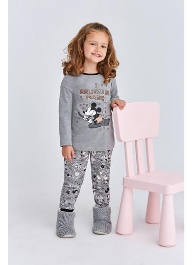 Mickey Mouse Mickey & Minnie Mouse Lisanslı Kız Çocuk Pijama Takımı Pudra Gri